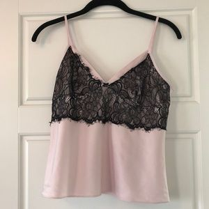 Sleep Top - Baby Pink with Black Lace